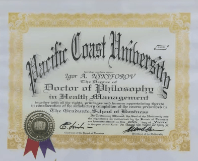 certificat of pacific coast university usa